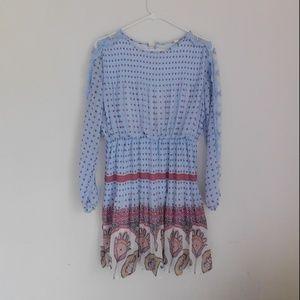 lace decorative blue dress
